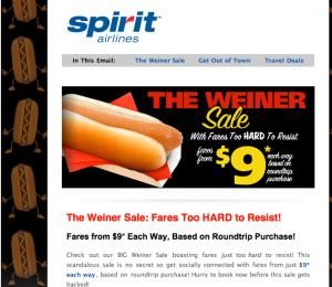 Spirit Airlines holds Weiner Sale