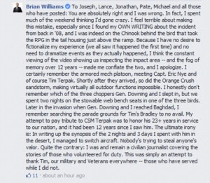 Brian Williams admits on Facebook to faking Iraq War story